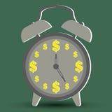Pengarbegrepp med tid är pengar stock illustrationer