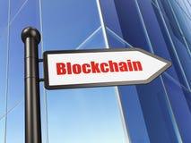 Pengarbegrepp: tecken Blockchain på byggnadsbakgrund Fotografering för Bildbyråer