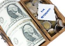 Pengarbesparing för avgång Arkivbild