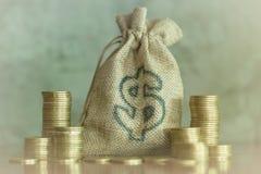 Pengarbesparingar, investering som gör pengar för framtid, finansiellt rikedomledningbegrepp Växa för buntmynt För kassa hampapås royaltyfria foton