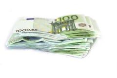 Pengarbunt på whitrr euros Royaltyfria Foton