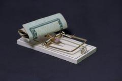 Pengarfälla på svart bakgrund Fotografering för Bildbyråer