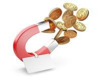 Pengarhästskomagnet som tilldrar guld- dollarmynt med etiketten vektor illustrationer