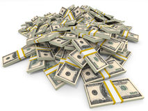 Pengarhög dollar hundra en royaltyfri illustrationer