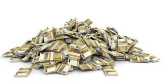 Pengarhög euro hundra en stock illustrationer
