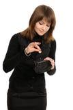pengarhandväskakvinna Royaltyfri Fotografi