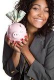 pengarkvinna arkivbild
