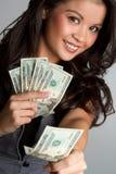 pengarkvinna Arkivfoton