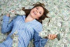 pengarkvinna Arkivfoto