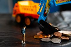 Pengarladdare för lastbilar royaltyfria foton