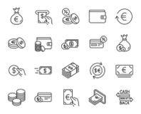 Pengarlinje symboler Kreditkort, kassa och mynt royaltyfri illustrationer