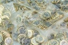 Pengarpåsar fyllde med britt ett pund mynt Arkivfoton