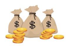 Pengarpåsar med mynt vektor illustrationer