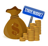 Pengarpåse med delstatsbudgeten Arkivbilder