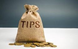 Pengarpåse med ordspetsarna Utmärkelse för bra service i kafét/restaurangen En drickspeng är en summa av pengar som ges customari arkivbild