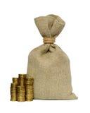 Pengarpåse och mynt Arkivfoto