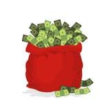 Pengarpåse Santa Claus Stor röd festlig påse som fylls med dollar Fotografering för Bildbyråer
