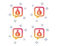 Pengarp?sesymboler Dollar, euro, pund och yen vektor stock illustrationer