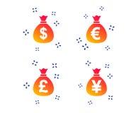 Pengarp?sesymboler Dollar, euro, pund och yen vektor royaltyfri illustrationer