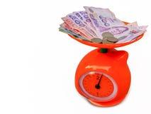 pengarpris på vägningsmaskinen royaltyfri bild
