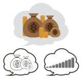 Pengarpåse med valuta för vektor för uppsättning för illustration för symbol för dollartecken Royaltyfri Fotografi