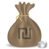 Pengarpåsesymbol med israeliskt sikelsymbol Arkivfoto