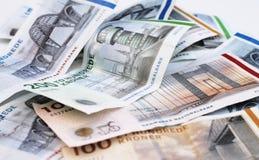 Pengarräkningar med bevekelsegrunder av danska broar royaltyfria foton