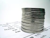 Pengarrapport arkivfoto
