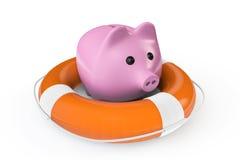 Pengarräddningbegrepp. Spargris med livbojet Royaltyfri Foto