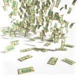Pengarregn av 10 dollarräkningar Arkivbild