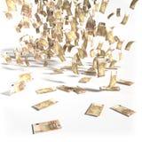 Pengarregn av 50 euroräkningar Arkivfoto
