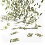 Pengarregn av 10 rubel räkningar Royaltyfri Bild