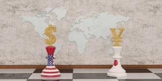Pengarschack med det guld- valutasymbolet som isoleras p? den vita illustrationen f?r bakgrund 3D vektor illustrationer