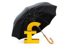 Pengarskyddsbegrepp. Guld- pund Sterling Sign under Umbre royaltyfri illustrationer