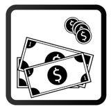 Pengarsymbol, kontant symbolslägenhetstil arkivbilder