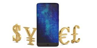 Pengartecknet och ilar telefonen som isoleras på vit bakgrund illu 3d stock illustrationer