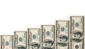 Pengartrappuppgång som isoleras på white Arkivfoto