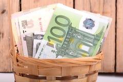 Pengaruppsättning i korg-, dollar-, euro- och rysspengar Fotografering för Bildbyråer