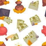 PengarUSD kassa, amerikanska dollarsedlar och modell för mynt som sömlös isoleras på den vita bakgrundsvektorn stock illustrationer