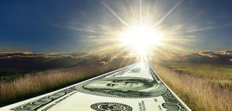 Pengarväg till framgång Soluppgångpanorama Arkivbild