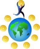 pengarvärld royaltyfri illustrationer