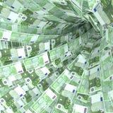 Pengarvirvel av 100 euroanmärkningar Arkivbilder