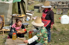 Penghou, China:  Beekeepers Selling Honey Royalty Free Stock Photo