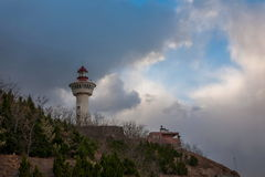 Penglai miasta, Shandong prowinci Danya wzgórza latarnia morska Obrazy Royalty Free