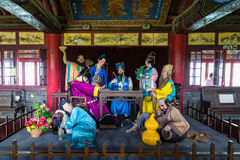 Penglai Pavillon near Yantai, Shandong, China. Yantai, China - June 2015 - Penglai Pavillon near Yantai, Shandong, China. Statues representing the legend of the Stock Images
