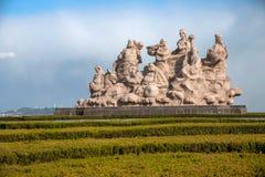 Penglaistad, Shandong-Provincie, Penglai Acht de plastic basis van Immortals Royalty-vrije Stock Foto's