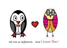 Penguin και κουκουβάγια πτώσης ερωτευμένο Στοκ Εικόνα