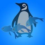 Penguin και ψάρια απεικόνιση αποθεμάτων