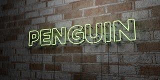 PENGUIN - Καμμένος σημάδι νέου στον τοίχο τοιχοποιιών - τρισδιάστατο δικαίωμα ελεύθερη απεικόνιση αποθεμάτων Στοκ Εικόνες