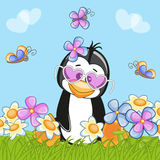 Penguin με τα λουλούδια διανυσματική απεικόνιση